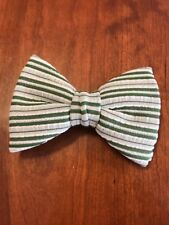 Bow Tie Vintage style 70`s Extra Large Bowtie Oversized Clip on Striped Green