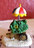 Noel Village Christmas Miniature Flower Cart with Umbrella Grandeur