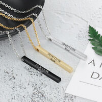 Personalised Engrave polishing Jewellery Vertical Bar Necklace Silver Black Gold