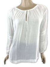 Vince New White Blouse Sz XS Loose Fit Drawstring Tie & Stretch at Neck MSRP$245
