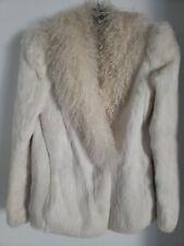 GORGEOUS Vintage Mongolian Curly Lamb Soft cream white rabbit fur jacket coat S