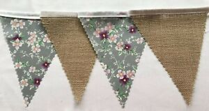 Grey floral & Hessian Shabby Chic Fabric Wedding Bunting decoration 4 Mt or more