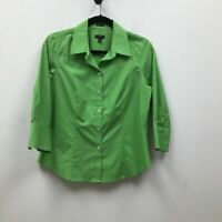 Talbots Womens Button Front Shirt Green 3/4 Sleeve Collared Stretch Petites 8P