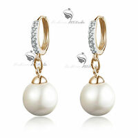 18K GOLD GF MADE WITH SWAROVSKI CRYSTAL PEARL WEDDING STUD EARRINGS
