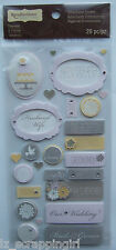 Recollections ~PINK & GREY WEDDING WORDS~ Dimensional Stickers; Bridal Party