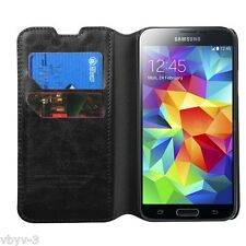 For Samsung Galaxy S5 S 5 SV Phone BLACK Wallet Leather Accessory Case Cover