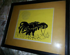 Signed Barbara F Hughes Low Crow Painting Woodcut on Serigraph verified