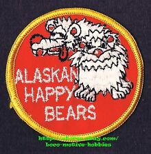"PATCH Woven Badge  ALASKAN HAPPY BEARS  Alaska  Naughty Adult Cartoon 3-3/16"""