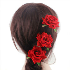 2PCS Bridal Red Rose Flower Hair Sticks Hairpin Floral Hair Clip Wedding Party