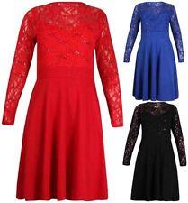 Knee Length Long Sleeve Stretch Dresses for Women