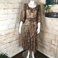 Vintage 70s Karen Alexander Floral XS/S Sheer Boho Midi Peasant Dress Tiered vtg
