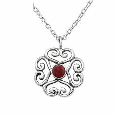 925 Sterling Silver Genuine Red Onyx necklace pendant  gift 13mm x 13mm