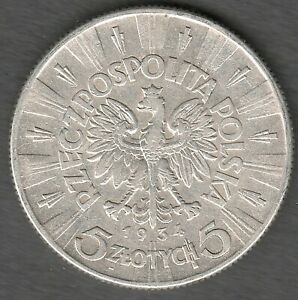 Poland 5 Zlotych 1934  Pilsudski , High Grade UNC ?? ,  Silver coin (0121)