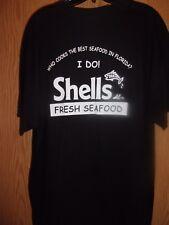 SHELLS Fresh Seafood black graphic XL t shirt