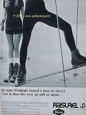 PUBLICITE SOUS VETEMENT RASUREL RHOVYL SPORT D'HIVER SKI DE 1967 FRENCH AD PUB
