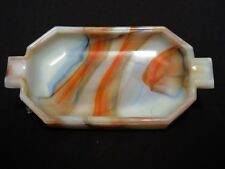 Gorgeous Vintage Akro Agate Multi 8 Color Long Tab Ashtray / Signed