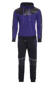 New Pejmo Tech Fleece Slim Fit Jogger Set Purple Mens