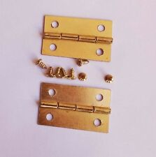 Small Brass Plated Hinge Pair W/Screws 30x18mm X 6 Pair