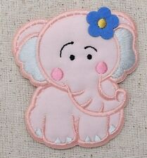 Pink Elephant Puffy/Blue Daisy Flower - Iron on Applique/Embroidered Patch