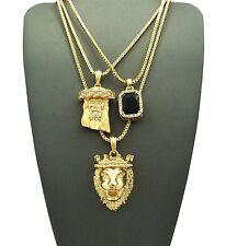 Lion Pendant Box Chain Necklace Set Mens Hip Hop Black Onyx Jesus, &