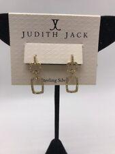 $115 Judith jack gold tone swarovski marcasite double drop earrings J2