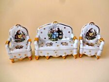 Vintage Limoges France porcelain sofa and chairs
