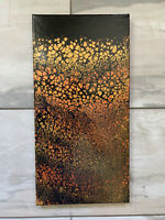"""Acrylic Paint Pour Painting 10 X 20 On Stretched Canvas, Original""""Copper Meadow"""""""
