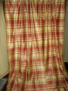 Bright Plaid Silk Fabric Silk Fabric By The Yard Pinch Pleated Silk Drapery Panels Drapery Panel