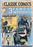 Classic Comics, 3 Famous Mysteries #21, $0.10 -1st Ed. (1a) HRN 21, GD