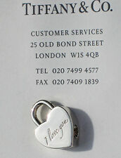 """Tiffany & Co Sterling Silver NOTES """"I LOVE YOU"""" Script Heart Padlock Charm ONLY"""