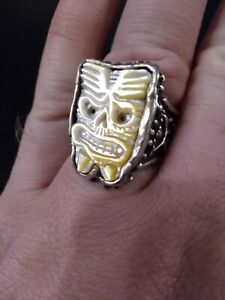 Sterling Silver Mother of Pearl  RXV RINGS Tiki God Ring 28 Gr Sz 10