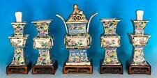 Perfect Altar Set Of Five Chinese Porcelain Incense Burner And Candlesticks