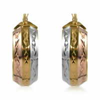Sterling 925 Silver Diamond Cut Fashion Hoop Hoops Earrings Women Jewelry Gift