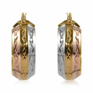 Sterling 925 Silver Diamond Cut Chunky Hoop Hoops Earrings Women Fine Jewelry