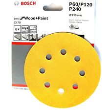 Bosch Sanding Discs 125mm WOOD & PAINT C470 8 Hole 60 120 240 Grit 2608605084