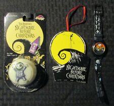 1993 NIGHTMARE BEFORE CHRISTMAS Yo-Yo MOC Watch & Ornament LOT of 3