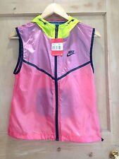 Nike windrunner GILET Size S 8 10 BNWT Pink green BLUE SHEER