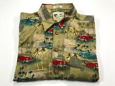 M E Sport XL Hawaiian Classic Car Palm Trees Men's Short Sleeve Button Front