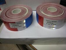 "20- ROLLS WHITE RED 6-6 Reflective Conspicuity Tape 2""x 100 ' DOT-C2 1/2 SPLICE"