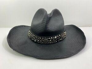 Harley Davidson Motorcycles Black Straw Cowboy Hat Studs Bling Made USA S