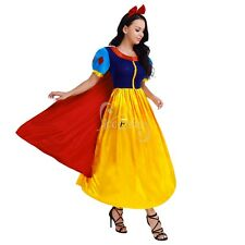 Women's Deluxe White Snow Fancy Dress Halloween Princess Costume Fairy Tale Gown