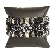 BR180-102 Magnetic Clasp Bugle Beads Czech Black Crystal Bracelet Cuff Guatemala