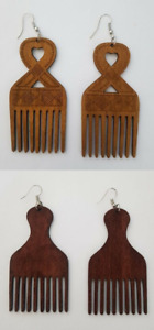 Afro Comb African Caribbean Wooden Afrocentric Earrings - Ethnic Jewellery