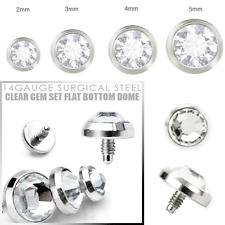 14G 3MM INTERNALLY THREADED SURGICAL STEEL CLEAR FLAT CZ GEM DERMAL ANCHOR TOP