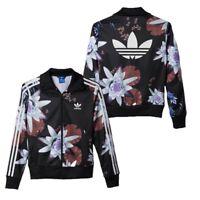 New Adidas Originals Lotus Print Track Jacket Floral flowers black Hoodie AC2130