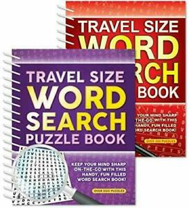2 x WORD SEARCH Travel Size Puzzle Books Spiral Paperback 200+ Puzzles per Book
