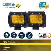 2x 4inch Flood LED Light Bar Offroad Boat Work Driving Fog Lamp Truck Yellow 4x4