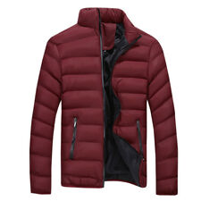 New Men Padded Quilted Coat Warm Puffer Jacket Casual Stand Collar Short Winter