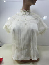 Vintage Cream Colored Lace & Polyester Button Back Ladies Short Sleeved Blouse