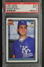 Luis Aquino KC Royals 1991 Topps #169 Desert Shield Graded Card PSA 9